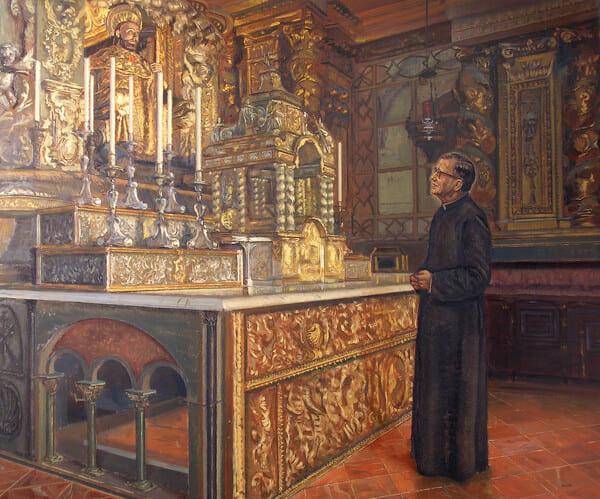 Cuadro de san Josemaría rezando delante de la imagen del apóstol Santiago (Nacho Valdés, 2007). Este lienzo está en el centro sacerdotal Hospitaliño, en Compostela