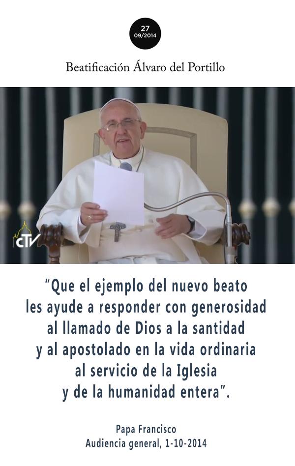 Palabras del Papa Francisco en la audiencia del 1-X-2014, en Roma.