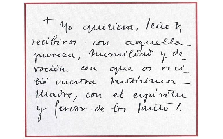Oración que san Josemaría recitaba como comunión espiritual.