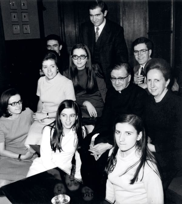 The Cremades family with the founder of Opus Dei, in 1971