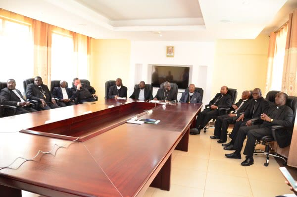 Bishops present at the press briefing in Queen of Apostles Seminary