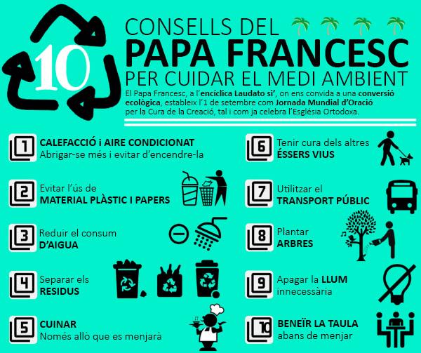 10 consells del Papa Francesc per tenir cura del medi ambient