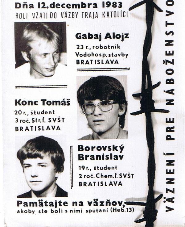 Cuando fueron encarcelados, esta foto circulaba de un modo clandestino por las iglesias en Checoslovaquia. Los cristianos rezaban por la liberación de los tres.