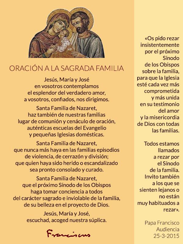Oración por la Familia, del Papa Francisco.