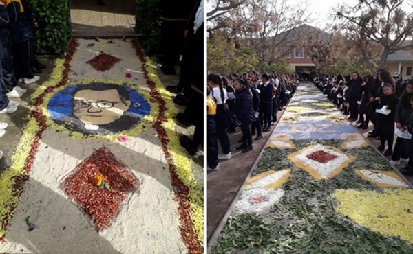 Alfombra de flores realizada por alumnas, profesoras, administrativos y mamás del colegio Almendral.
