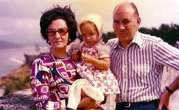 With her parents, Francisco and Moncha