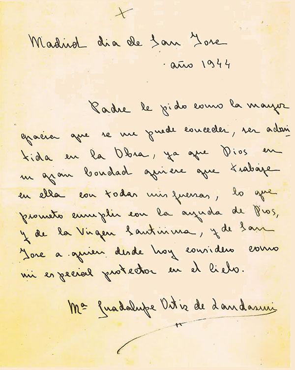 Carta manuscrita que Guadalupe Ortiz de Landázuri escribió a san Josemaría para pedir la admisión en el Opus Dei (19 de marzo de 1944)