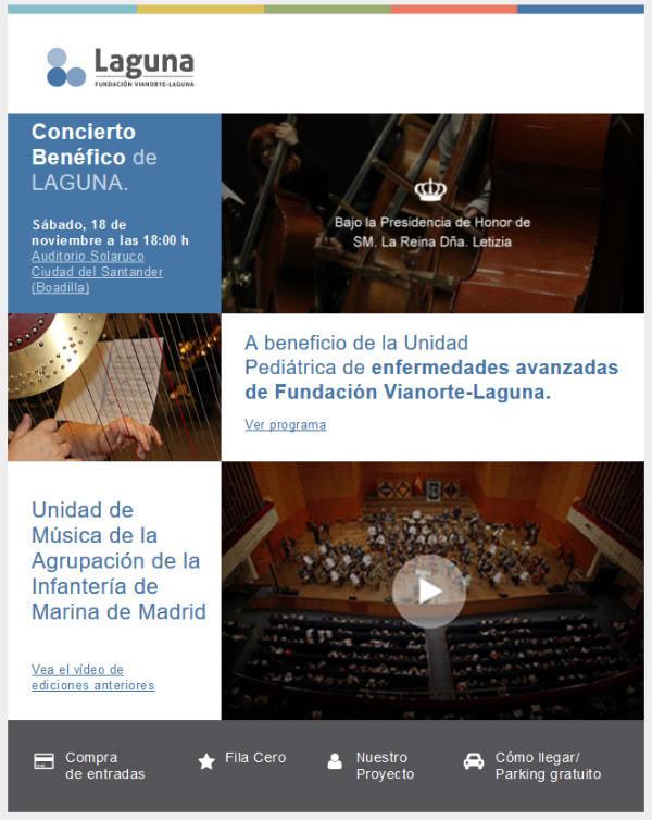 Información sobre el concierto solidario de la Fundación Vianorte-Laguna.