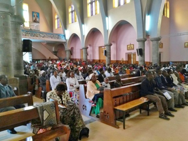 Section of the congregation attending the Mass in the Cathedral in Nyeri