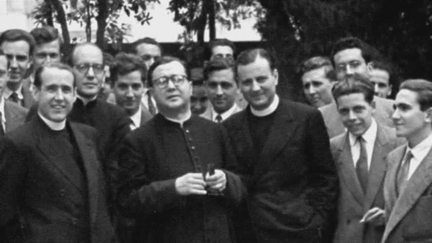 St. Josemaria with D. Pedro, D. Ricardo Fernandez Vallespin and D. Jose Luis Muzquiz and others in Rome