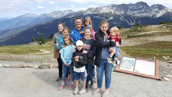 Ida Gazzola with her family in Whistler.