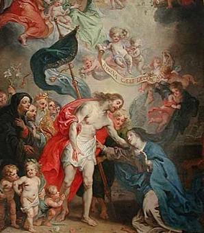 Théodore van Thulden, Le Christ ressuscité apparaît à sa mère (Louvre, 1642).