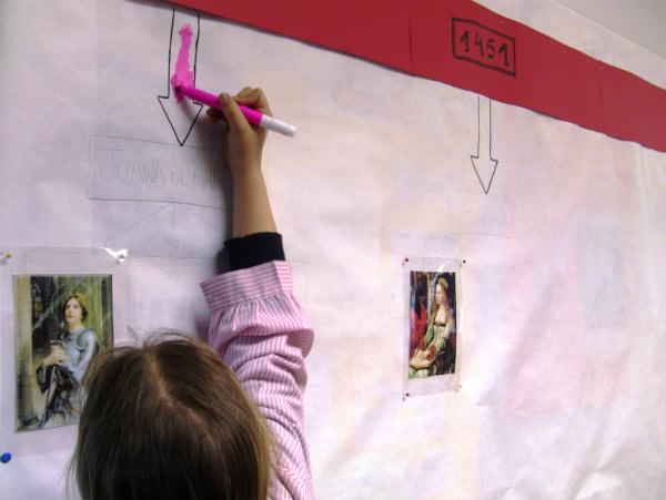 En Primaria las alumnas han realizado líneas de tiempo con las mujeres ilustres en la historia.