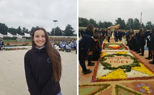 Laura Germain, alumna del Colegio Albamar durante la celebración del Corpus Christi