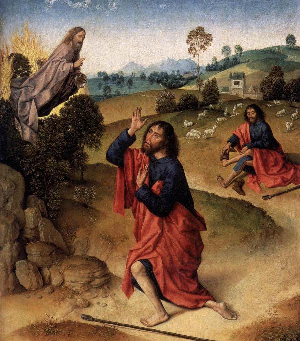 Moisés se quita los zapatos y ve la zarza ardiente