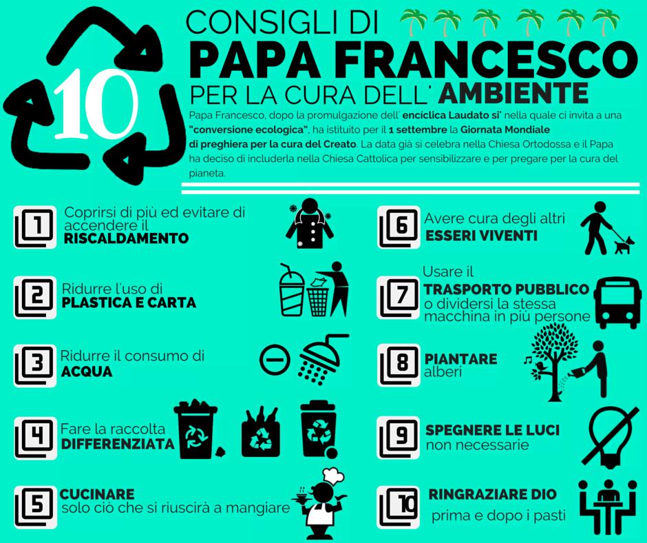 spesso 10 consigli di Papa Francesco per curare l'ambiente in cui viviamo  EX89