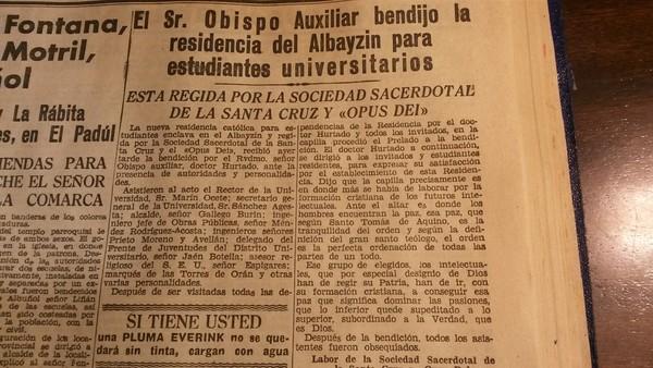 Noticia de la bendición del oratorio del Carmen e inauguración de la residencia el 24 de noviembre de 1945