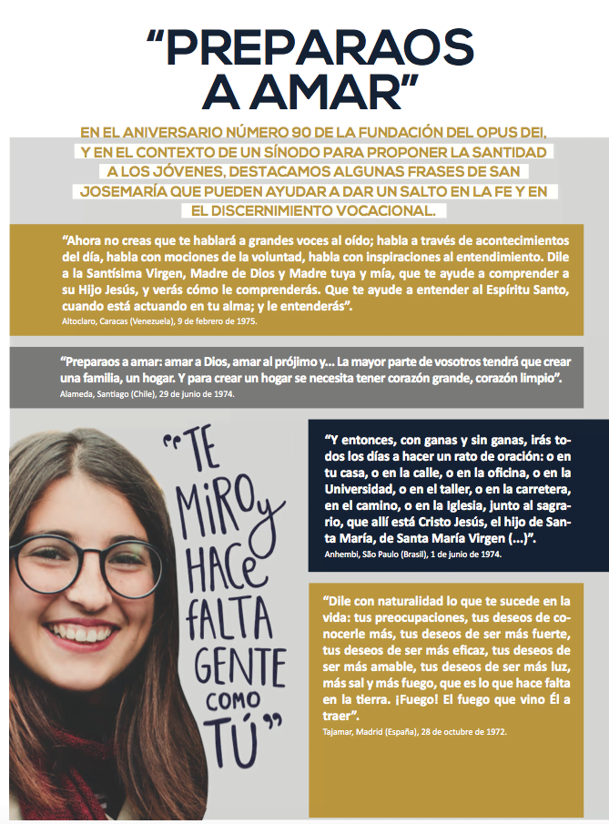 Detalle de la contraportada, donde se destacan frases de san Josemaría en el contexto del Sínodo de los Jóvenes.