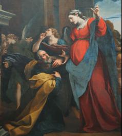 Joseph accueille Marie chez lui - Alexandre Tiarini (école bolonaise, 1619), Louvre
