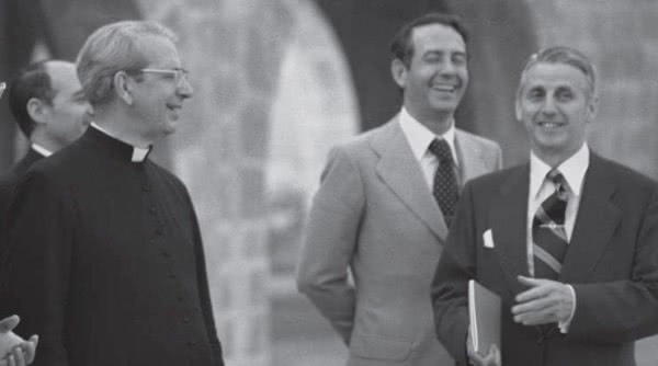Pedro Zarandona, first on the right, during a visit by Blessed Alvaro del Portillo to Torreciudad, in 1978.