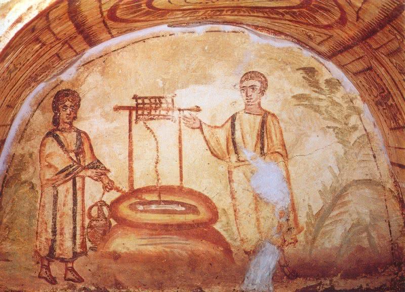Jesus e Samaritana. Catacumba de Via Latina, Roma (século IV)
