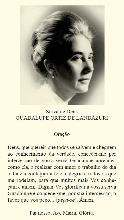 Rezar por intercessão de Guadalupe Ortiz de Landázuri