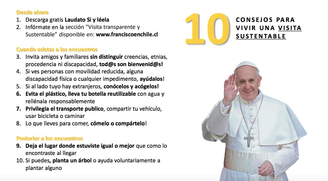 El sello especial de esta visita papal será el de la sustentabilidad. Aquí, 10 consejos