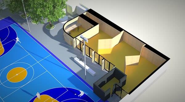 Esquema do novo pavilhão e do novo pavimento do campo de jogos.
