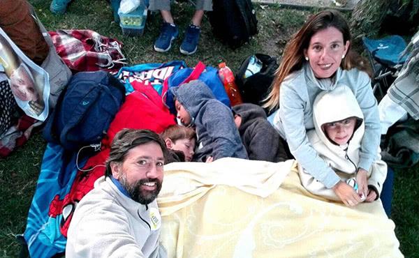 Desde las 11 de la noche se preparó Mane Cárcamo junto a su familia para ir al Parque O Higgins.