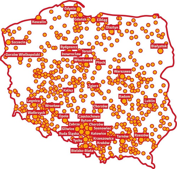 Cities in Poland that will hold a Three Kings' procession.