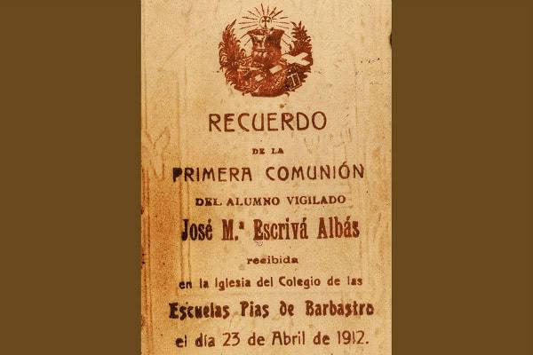 Recordatorio de la Primera Comunión de san Josemaría Escrivá.