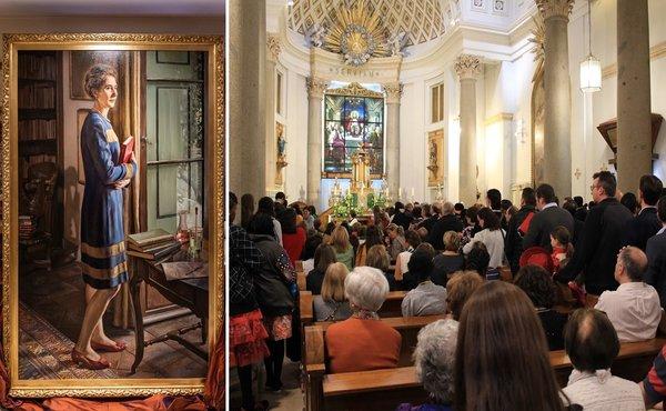 Minios žmonių meldžiasi prie Gvadalupės palaikų, Caballero de Gracia bažnyčioje. Opus Dei informacijos biuro ir Katažinos Topolskos nuotraukos