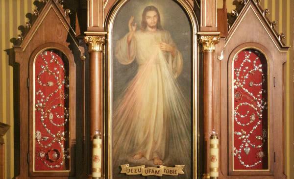 La imagen de Jesús Misericordioso, que también se conoce como la imagen de la Divina Misericordia.