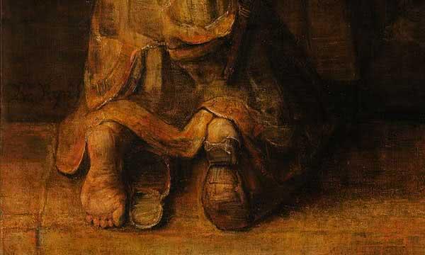 """Outro detalhe do quadro """"O regresso do filho pródigo"""": o filho volta arrependido à casa do pai."""