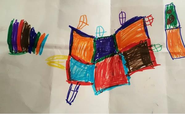 Um dos desenhos preparados pelas crianças que vão visitar a seus pais.