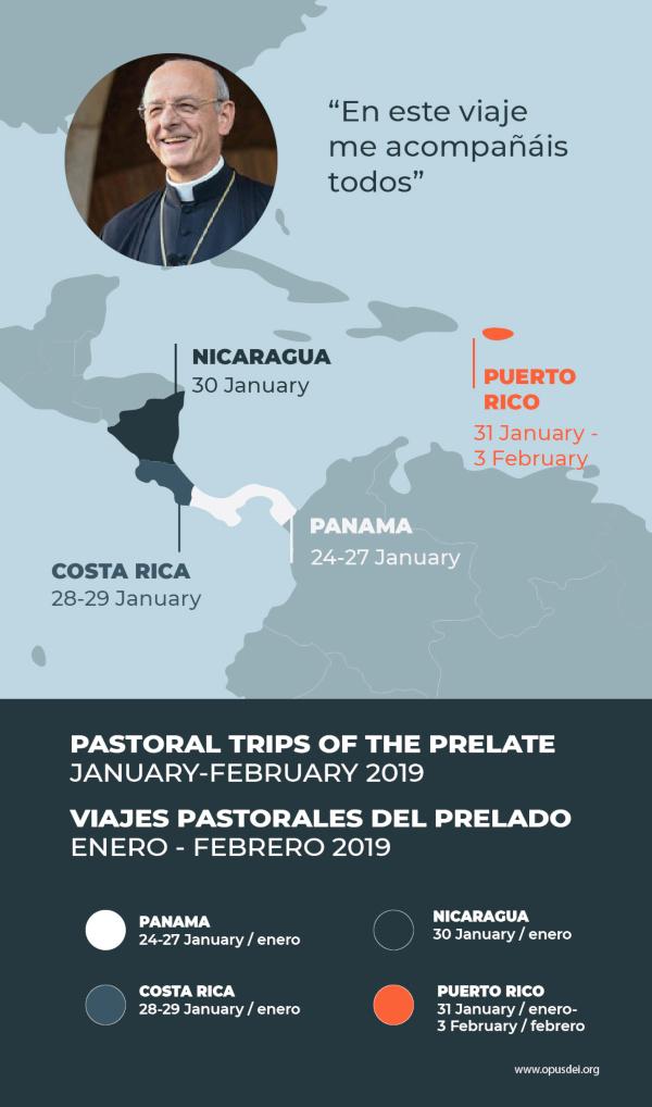 Resumen del viaje pastoral que emprenderá el prelado tras la JMJ.