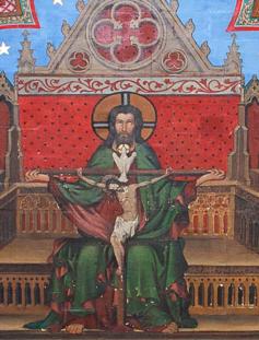 Trône de grâce : fresque à la cathédrale Notre-Dame de Bayeux (XVe siècle)