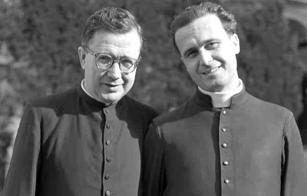 Con san Josemaría en Villa Tevere (Roma), en 1955.