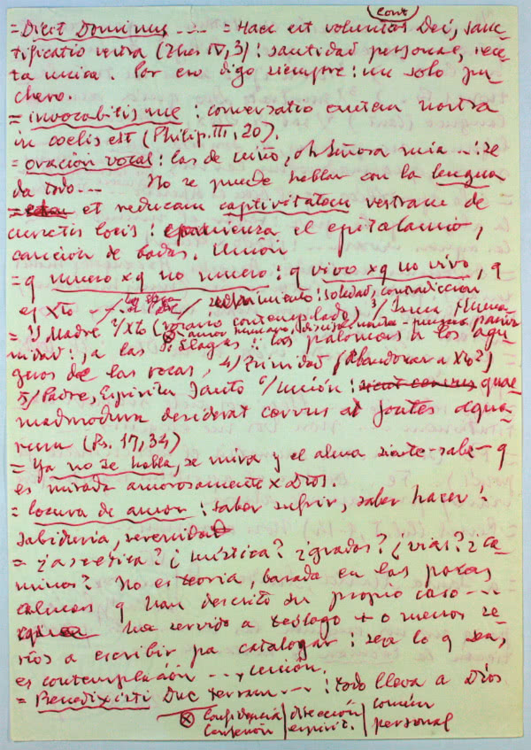 Facsímil del guion de una meditación predicada por san Josemaría el 26 de noviembre de 1967.