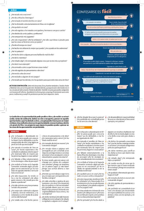 Descarga en formato PDF la ilustración con los pasos para la confesión y los exámenes de conciencia en un archivo.