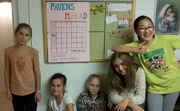 Algunas de las niñas a las que enseño catequesis.