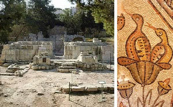 Basílica na antiga Nicópolis (Esquerda) e detalhe de um mosaico bizantino.