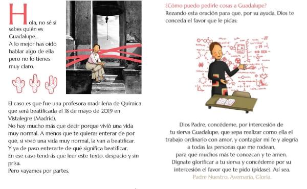 Dos páginas diferentes de la biografía juvenil de Guadalupe.