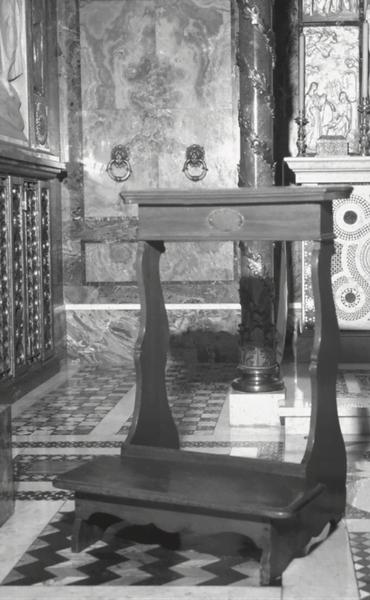 Genuflexório utilizado por Pio X. Actualmente se conserva em Roma, no Oratório da Santíssima Trindade da sede central do Opus Dei.