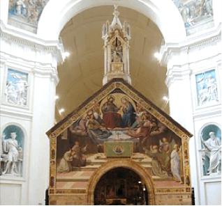 La Dame au-dessus des anges Friedrich Overbeck, fresque La vision de saint François (1830) : tympan de la chapelle de la Portioncule, basilique Notre-Dame-des-Anges, Assise.