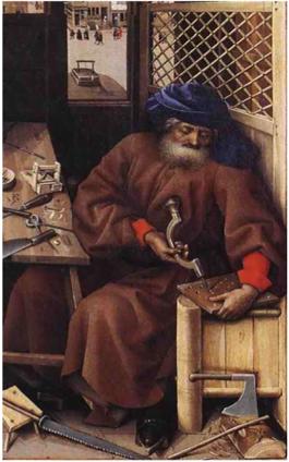 L'atelier de Joseph : Robert Campin (école flamande, vers 1400), New York.