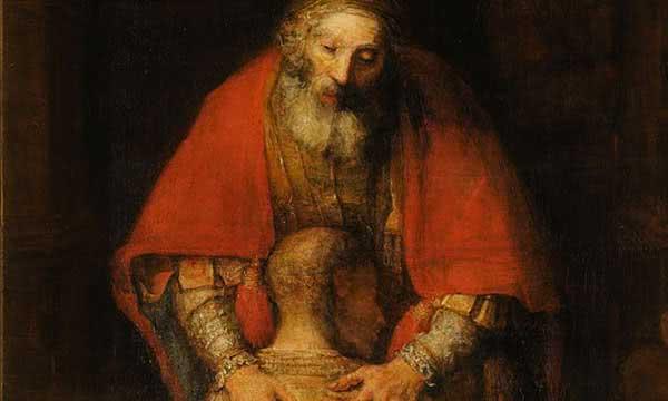 Detalhe do filho abraçado pelo pai, da pintura de Rembrandt.