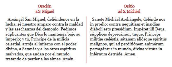 Oración a San Miguel.