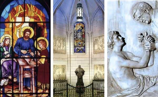 Vitral que representa uma cena da Sagrada Família; Capela dedicada a S. Josemaria Escrivá e Alto-relevo que representa o Fundador do Opus Dei atendendo um doente agonizante