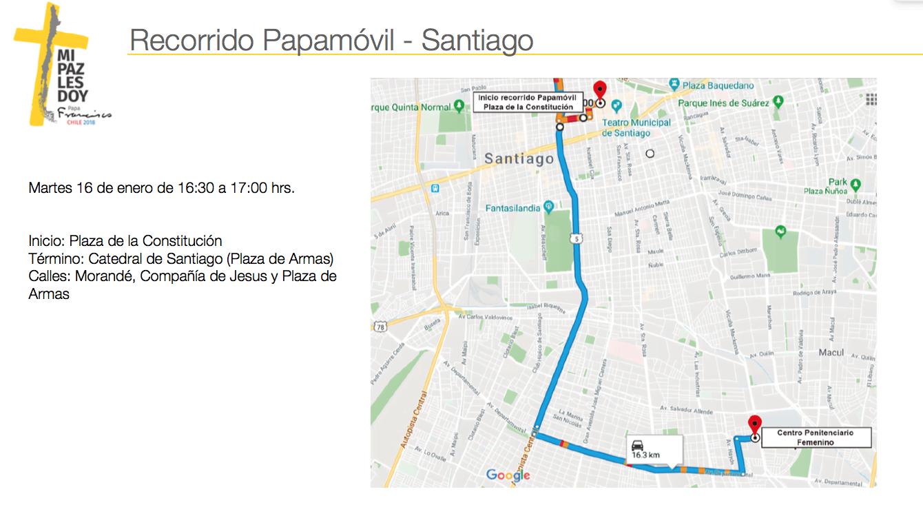 Ejemplo de recorrido en Santiago. Podrás descargar PDF adjunto al final de la nota para ver detalles en regiones